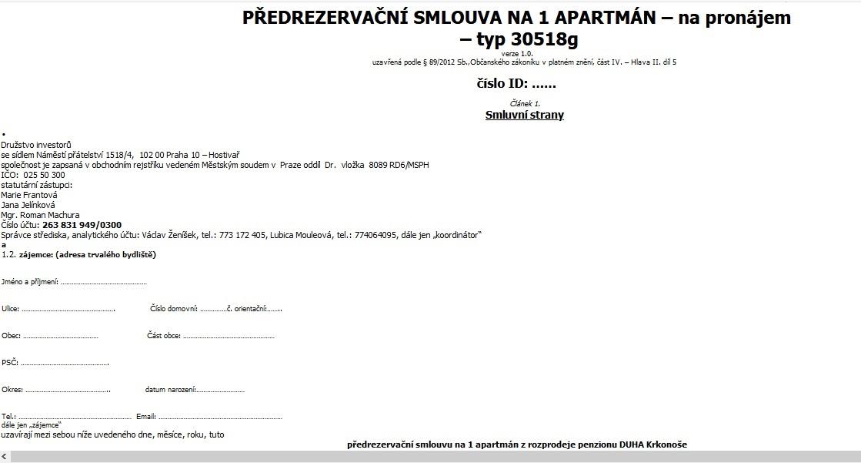 PØEDREZERVAÈNÍ SMLOUVA - NA 1 APARTMÁN RUMBURK